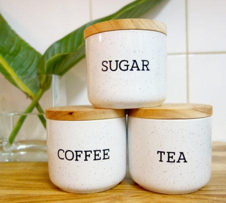 coffee tea sugar label set